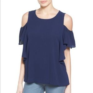 NEW Cold Shoulder Ruffle Sleeve Top